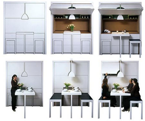 Transforming Pull-Out Dining Room Wall Furniture | dornob