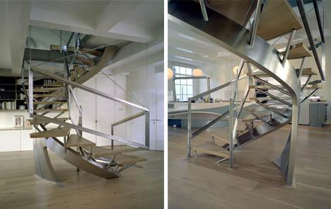 Creatively Artistic Interior Metal Stair Design