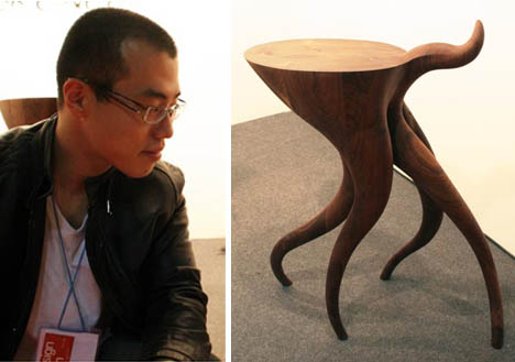 Naturalistic Curved Wood Table Design