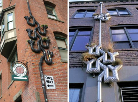 Creative Downspouts Double As Water Recycling Planters