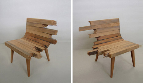 Artistic Wooden Broken Bench