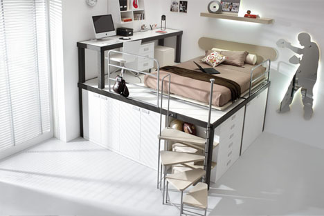 Lofted Space Saving Furniture For Bedroom Interiors Designs