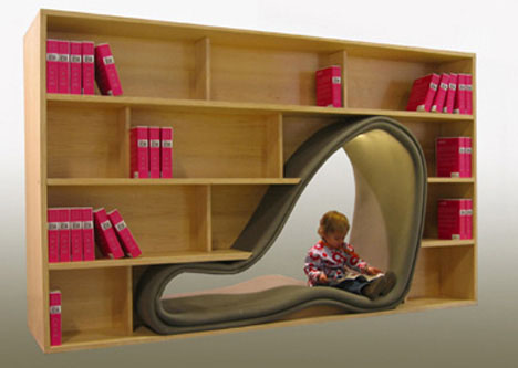 Bookcase Chairs Combine Book Storage & Reading Space