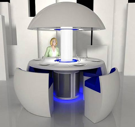 Futuristic Transforming Dining Room Table-and-Chairs Set ...