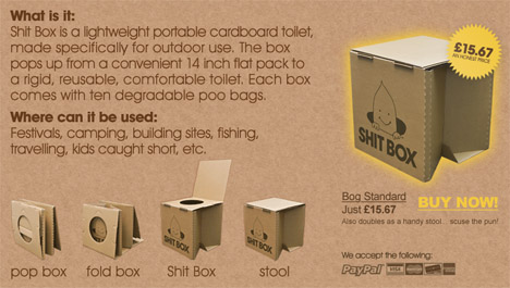 Sh T Box Provides Portable Disposable Toilet Solution