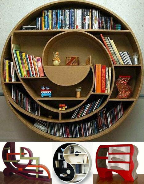 Round Strange Bookcase Designs