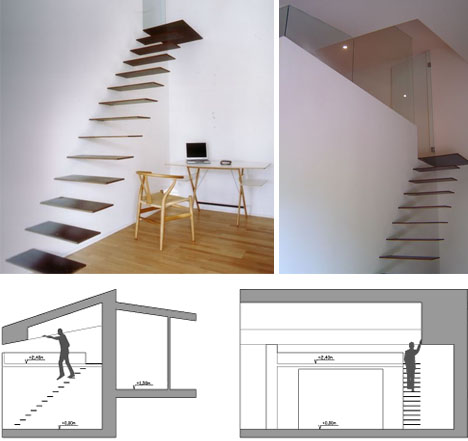 Creative hanging floating suspended staircases for Free floating stairs