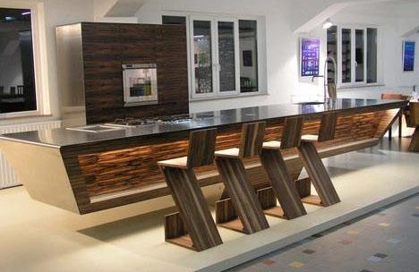 stylish modern wood and steel kitchen design idea interior