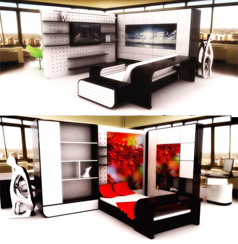 Modular Interior Designs With Space Saving Partitions