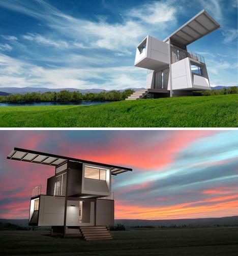 Green Home Design Ideas: Sustainable Style: Prefab Futuristic Green Home Design