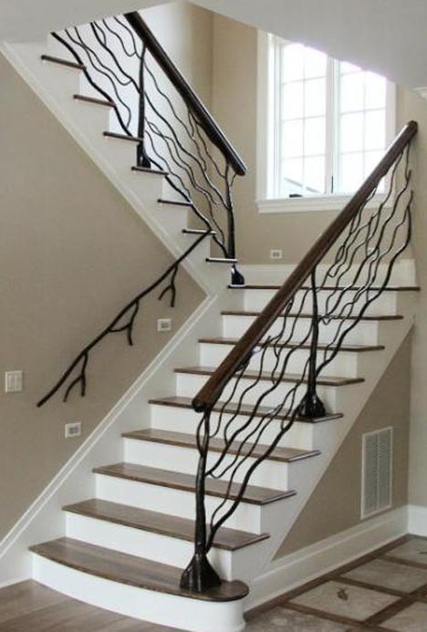 Custom metal handrail designs for staircases balconies for Custom staircase design
