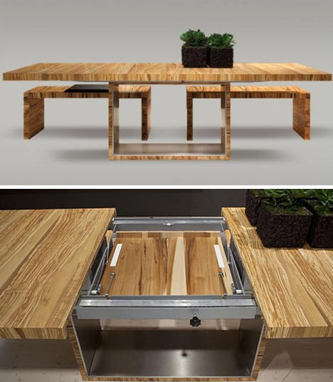 Epic all wooden colorful dining table