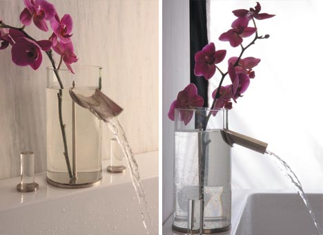 Clever Combined Bathroom Faucet Flower Vase Design