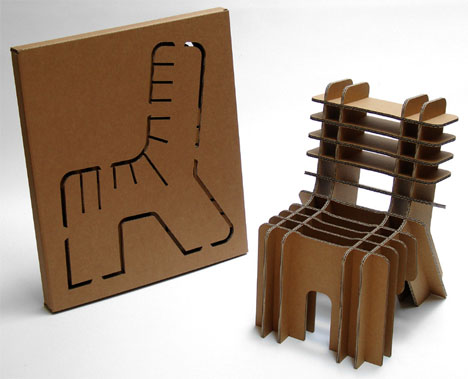 Flat Pack Furniture Eco Friendly Cardboard Chair Designs