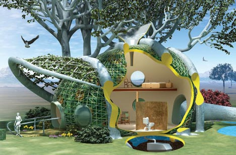 growing futuristic green treehouse Home Grown  DIY Living Tree House Design Idea