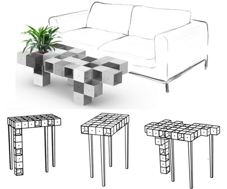 3d Pixel Furniture Modular Transforming Table Design