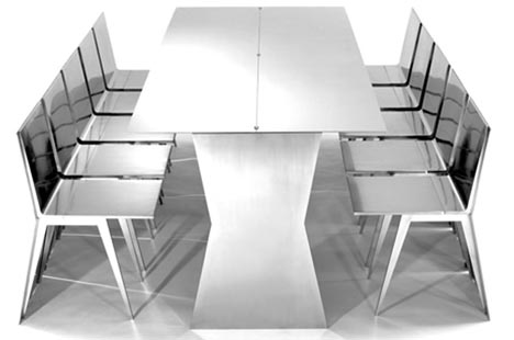 Modern Minimalist: Transforming Steel Table & Chairs Set