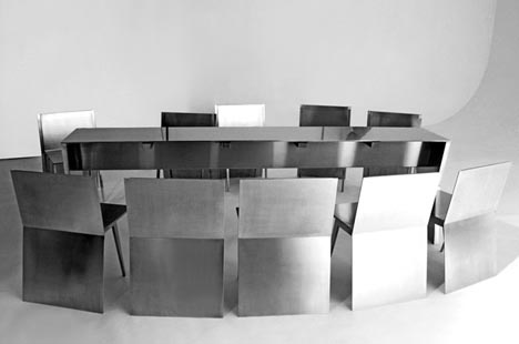 Transforming Stainless Steel Table Chairs