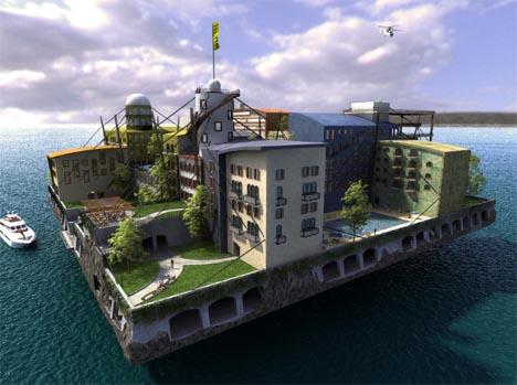 floating futuristic city design