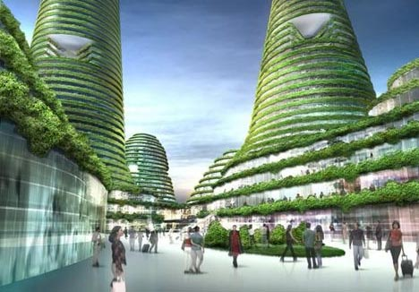 futuristic eco city center