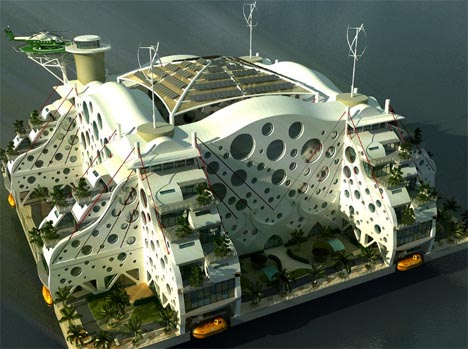 futuristic floating city concept