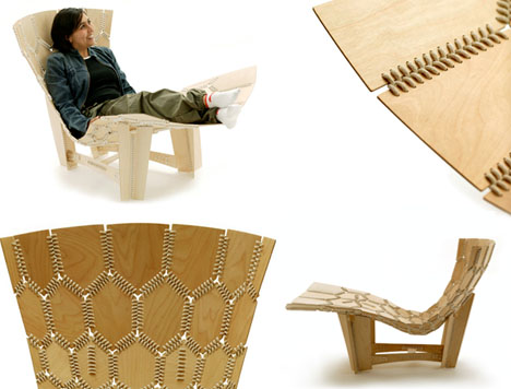 knit flexible wooden chair
