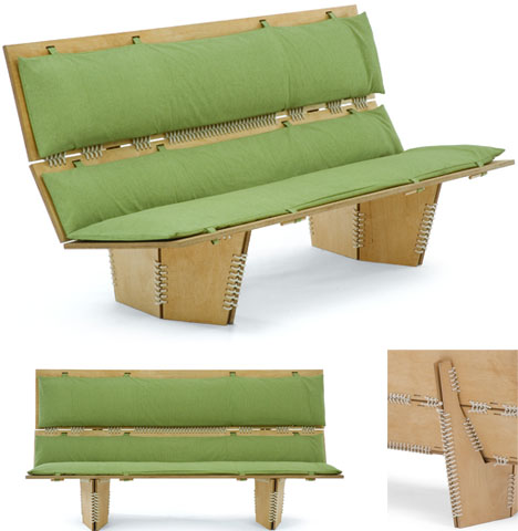 knit padded wood bench
