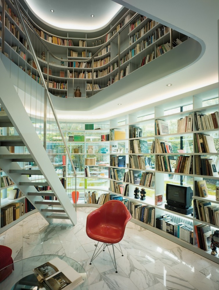 Luxury Home Library Design: Luxury Home Library With A Glass Wall
