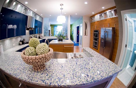 Lovely recycled glass kitchen counter tops
