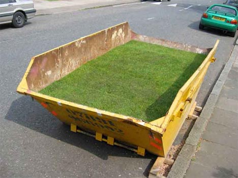 recycled urban grass lawn