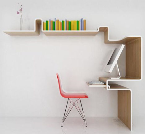 Space-saving-furniture-design-arranged-with-pink-colored-chair