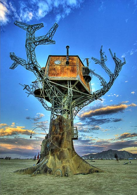 steampunk burning man treehouse