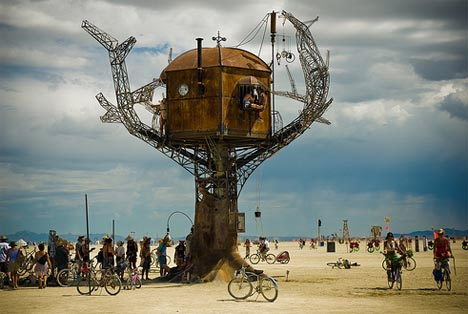 steampunk metal tree house