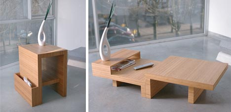 Elegant Convertible Wood Coffee End Table Design
