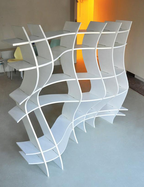 bizzare bookcase design with crazy cool curved shelves - Funky Bookshelves