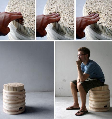 Upcycled Furniture Creative Chopstick Stool Design