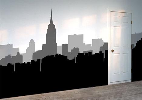 wall sticker black white city