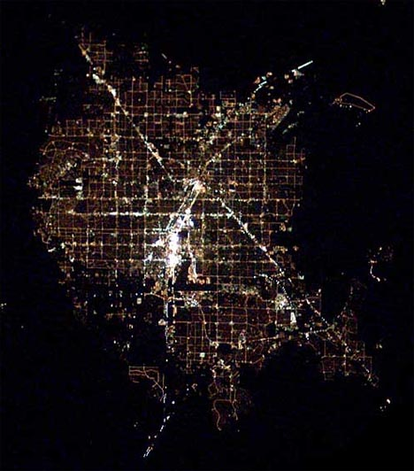 city nighttime aerial photo las vegas