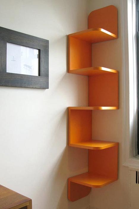 corner shelf wall system