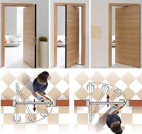 & Space-Saving Double-Swing Doors Pivot on Hidden Hinges