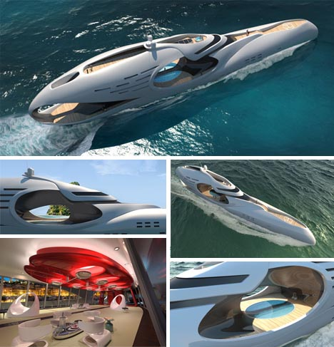 futuristic luxury houseboat yacht