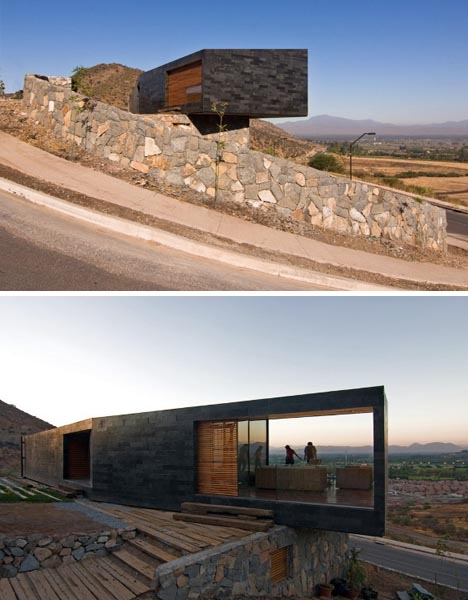 modern small site stone home