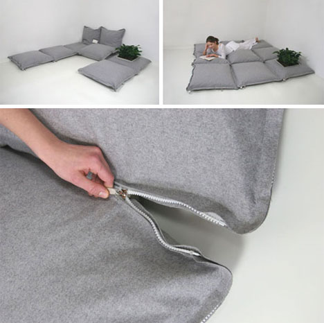 Zippered Floor Pillows : Modular Floor Pillows: Creative Connectable Cushions