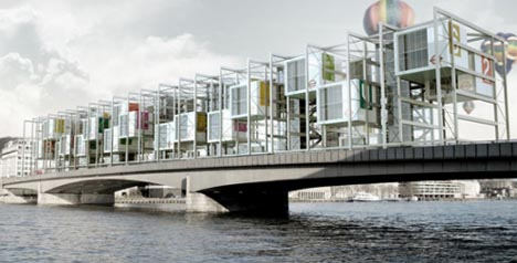 modular futuristic bridge homes