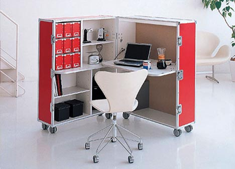 Modular Office Furniture: Wood Box Storage, Desk & Chair