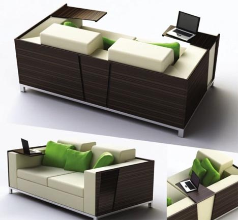 Superbe Flip Open Sofa Shelves: Combined Couch U0026 Desk Design