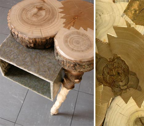 recycled scrap wood tables