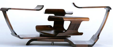 rotating curved wooden desk