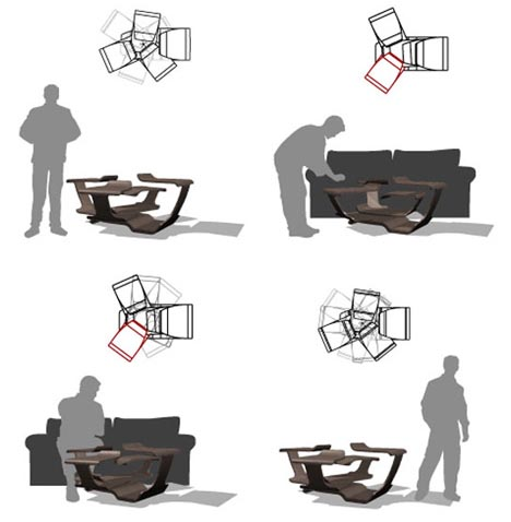 rotating wood table design