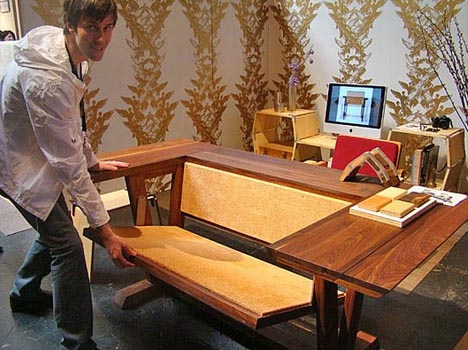 Folding Wood Table Top Drops To Reveal A Rustic Bench